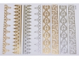 Gold Silver | Metallic Jewelry Flash Tattoo stickers sheet W-079 size 21x15cm