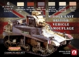 Set kamuflážních barev LifeColor CS16 MIDDLE EAST BRITISH VEHICLE CAMOUFLAGE