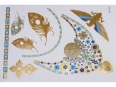 Gold Silver Blue | Metallic Jewelry Flash Tattoo stickers sheet W-116C size 21x15cm