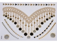 Gold Silver Black | Metallic Jewelry Flash Tattoo stickers sheet W-088 size 21x15cm