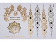 Gold Silver Black | Metallic Jewelry Flash Tattoo stickers sheet W-091 size 21x15cm