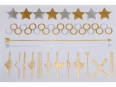 Gold Silver | Metallic Jewelry Flash Tattoo stickers sheet W-078 size 21x15cm