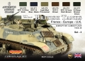Set kamuflážních barev LifeColor CS44 British Tanks France-Europe-UK SET2