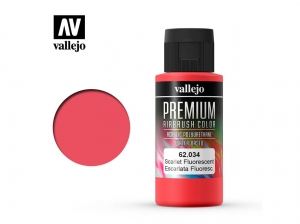 Barva Vallejo PREMIUM Color 62034 Fluorescent Scarlet (60ml)