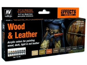 Vallejo Model Color Effects Set 70182 Wood & Leather (8) By Angel Giraldez