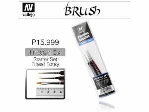 Vallejo Brush Synthetic P15999 Starter Set (3 Pcs.) Round No.S 1 Y 3/0-Flat No.4