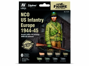 Vallejo Set 70244 NCO US Infantry Europe 1944-45 (8) + figure