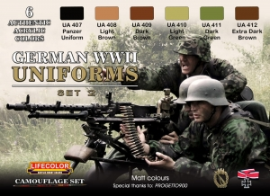 Set kamuflážních barev LifeColor CS05 GERMAN WWII UNIFORMS SET2